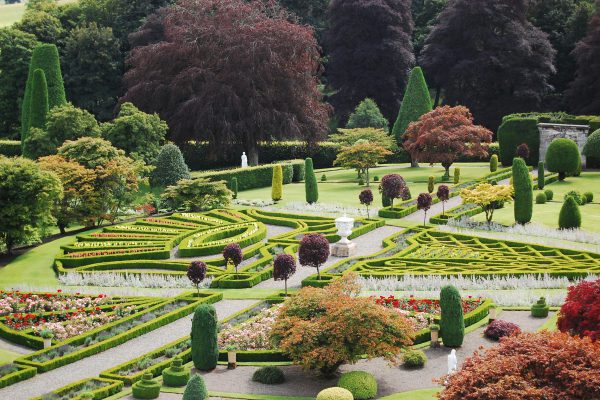 Drummond Castle Gardens landscape and topiary