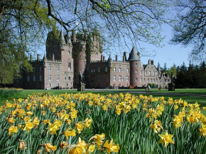 Glamis Castle in Scotland with daffodils
