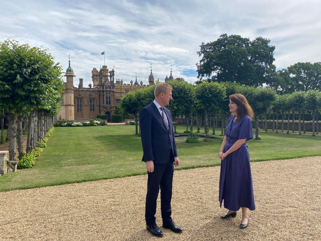 Martha Lytton Cobbold meets the Secretary of State for Culture at her home, Knebworth