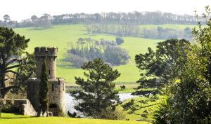 Caerhays Castle grounds view