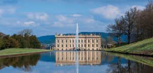 Chatsworth House with water fountain