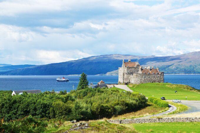 Duart Castle seaview across the Isle of Mull