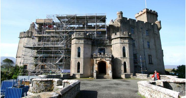 Dunvegan Castle scaffolding during restoration