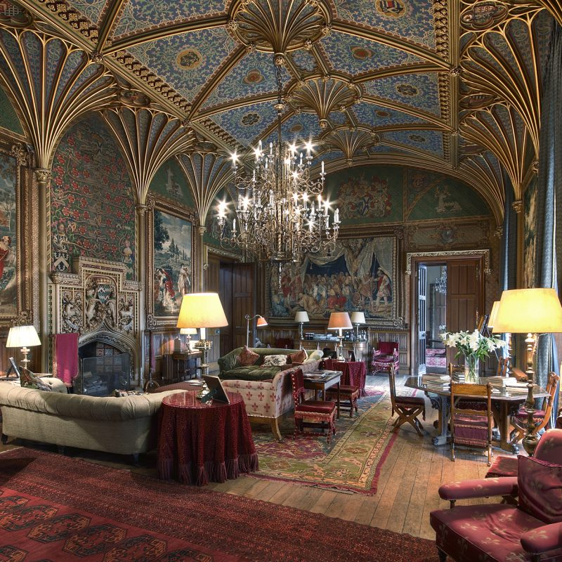Eastnor Castle drawing room and vaulted ceilings