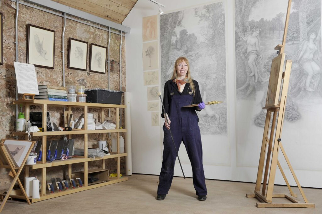 Julia Alexandra Mee in her studio at Marchmont House