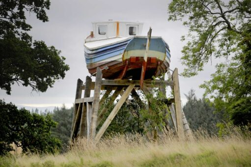 Girl Hannah Boat artwork at Marchmont - Colin Hattersley Photography