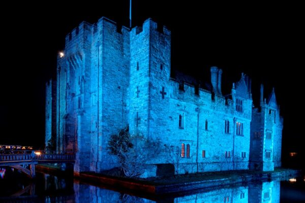 Hever Castle lights blue for the NHS during Covid-19, April 2020