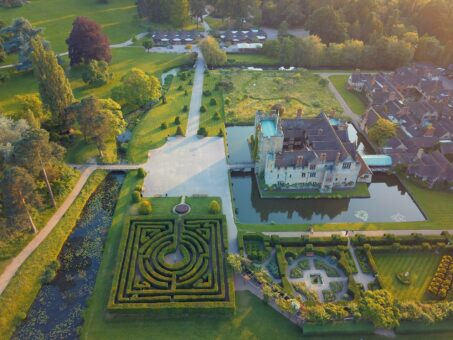 Hever Castle and Gardens from above including a maze