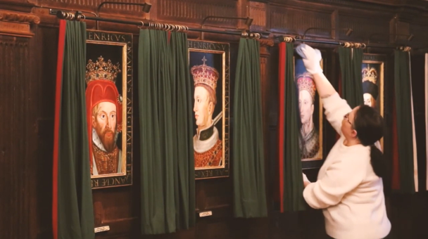 Hever Castle cleaning the portraits