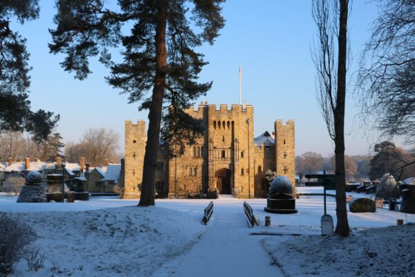 Hever Castle snow landscape in Kent
