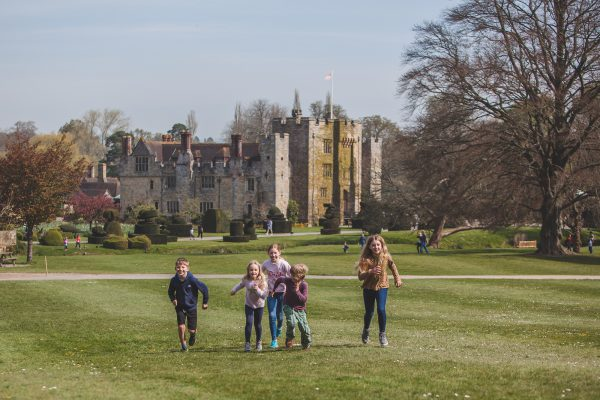 Hever Castle with children running