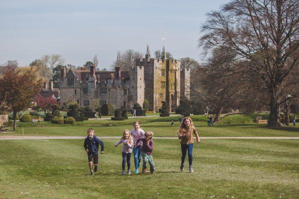 Hever Castle with children running