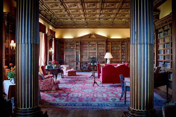 Highclere Castle Library with stunning pillars