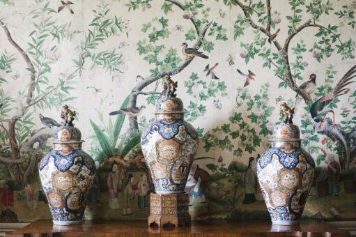 Kelmarsh Hall ceramic vases and wallpaper