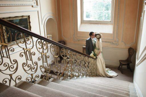 Kelmarsh Hall wedding south stairs