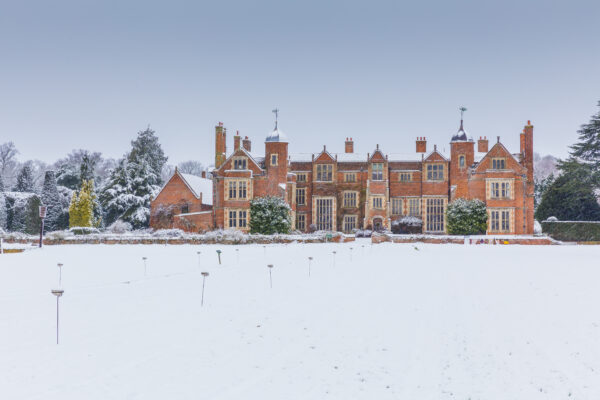 Kentwell Hall in Suffolk covered in snow