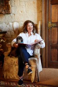 Lady Ashcombe and dog sitting Sudeley
