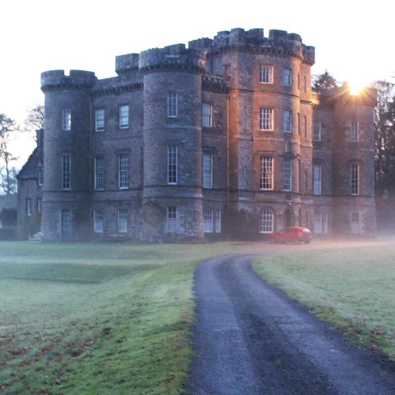 Monzie Castle in the mist in Scotland