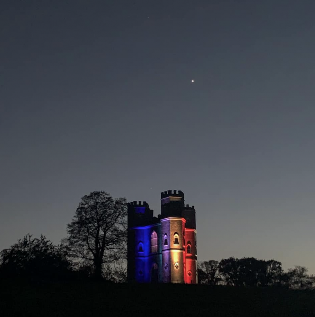 Powderham Castle lights up for the NHS