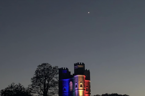 Powderham Castle lights up for the NHS