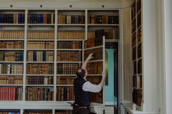 Powderham Castle Library cleaning