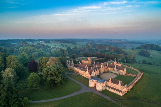Rockingham Castle overhead view
