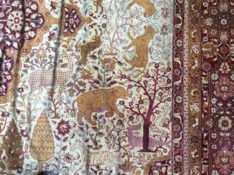 Silk rug of Broadward Hall rhino large with tiger and zebra