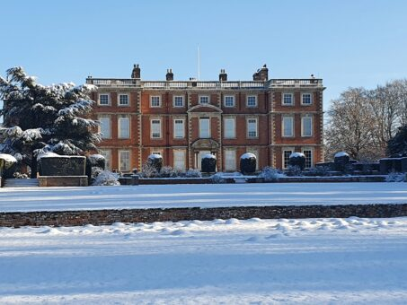 Snow covers Newby Hall in North Yorkshire in 2021