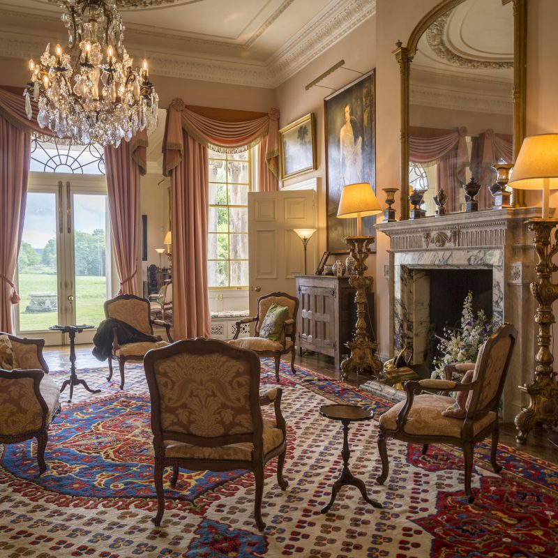 Stansted Park Drawing Room with fireplace and chandelier