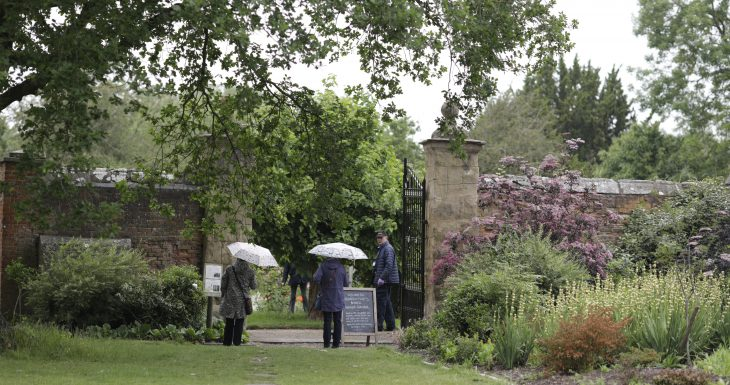 Umbrellas at garden gate Middleton Hall