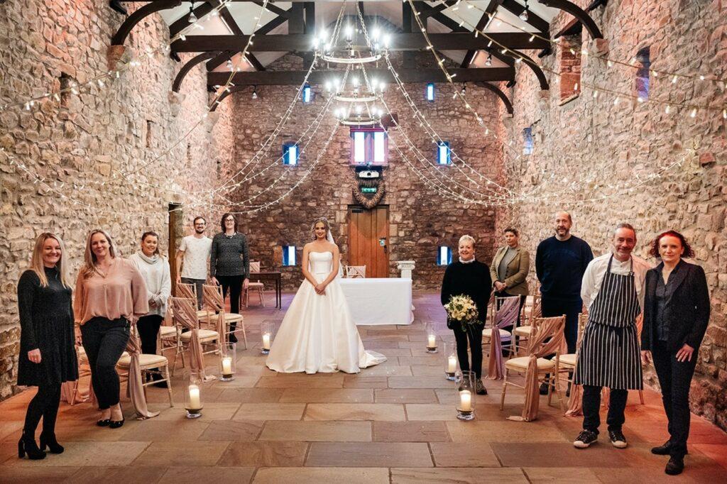 Browsholme Hall stone barn wedding