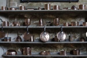 Historic kitchen utensils at Burghley House