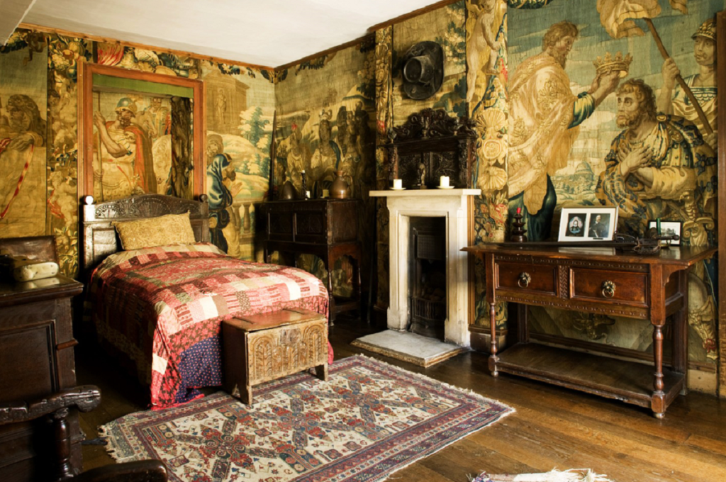 Historic bedroom with tapestries