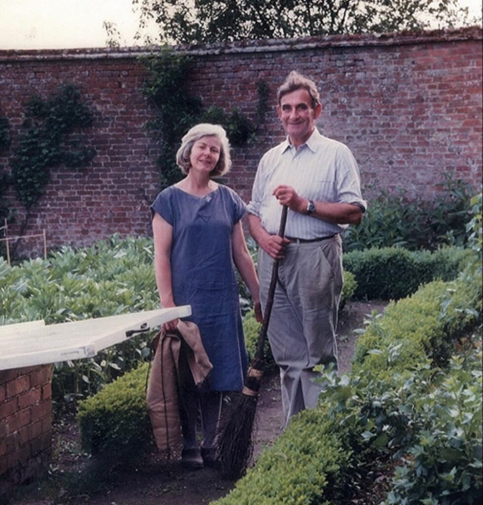 My parents Sir Michael and Jane Hanham in the kitchen garden in 1985 Deans Court