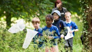 Nature trail children learning at Kelmarsh
