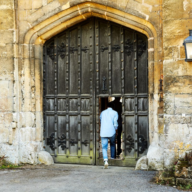 Walking through main gate Sudeley Castle