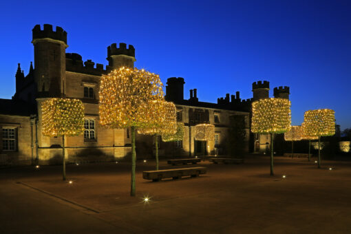 Lowther Castle Courtyard with hornbeam pillars 11006