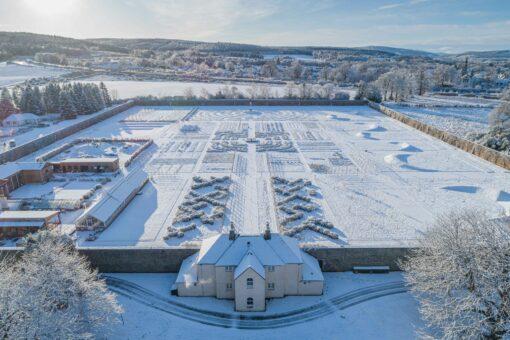 Gordon Castle Walled Garden herb row in the snow