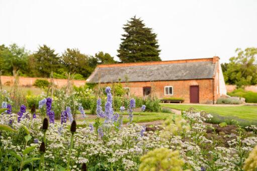 Roses and cottage at Kelmarsh Hall