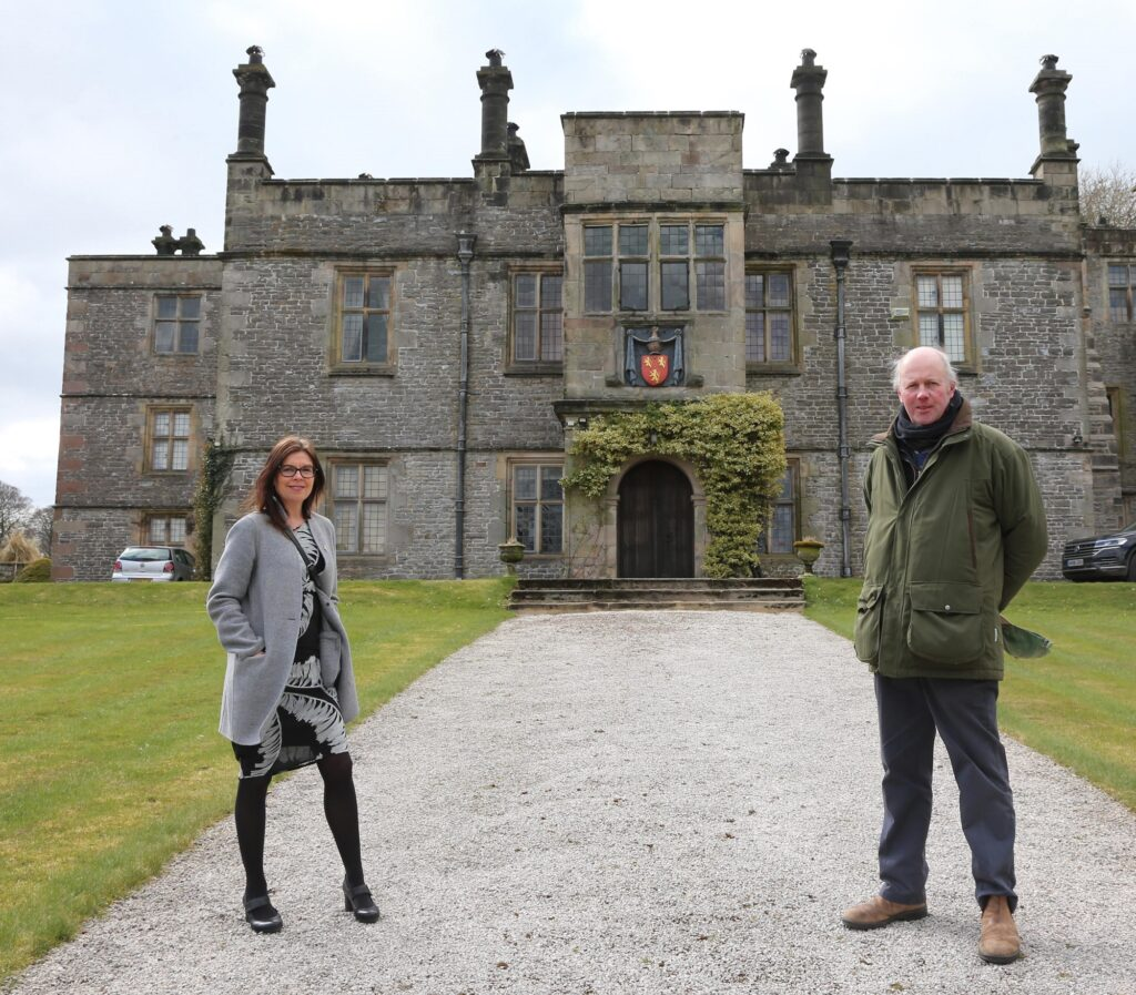 Sir Richard FitzHerbert pictured with Jo Dilley, Managing Director of Marketing Peak District & Derbyshire, at Tissington Hall