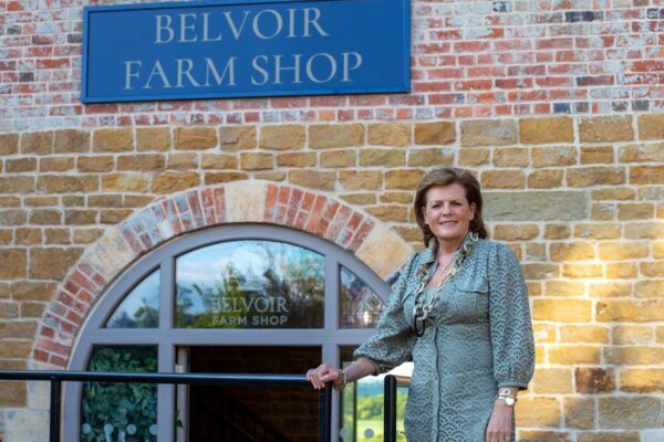 Duchess of Rutland Outside New Estate Farm Shop at Engine Yard