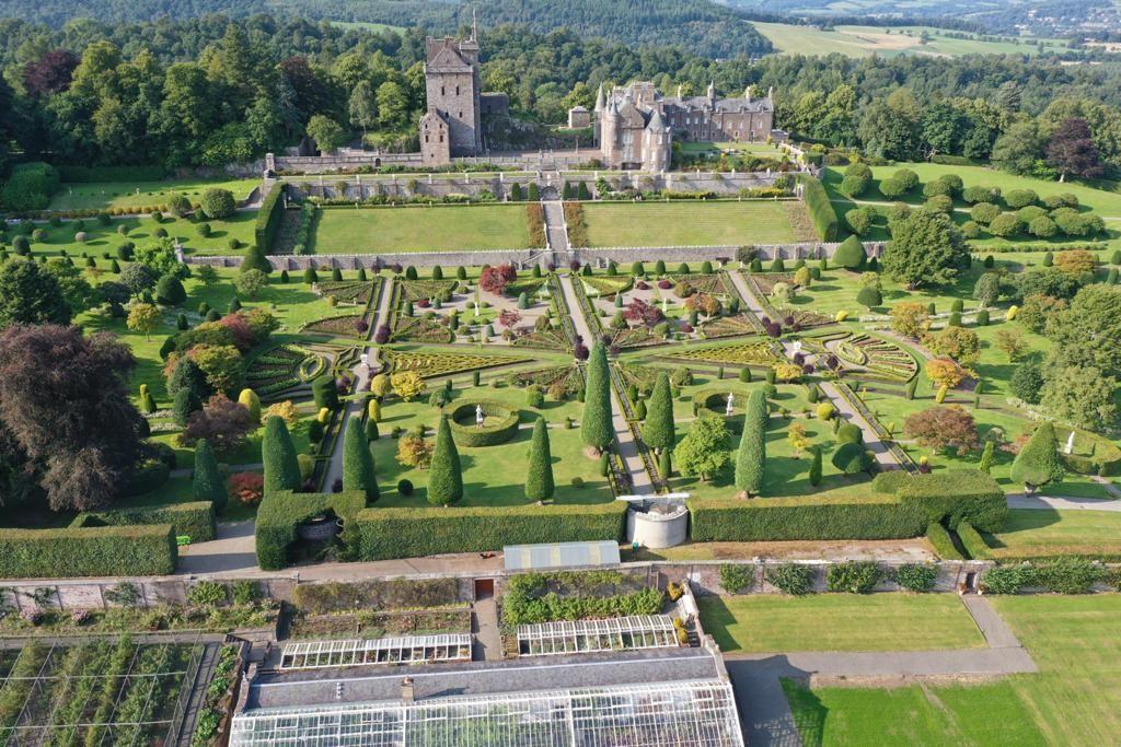 Drummond Castle overhead drone shots September 2021 3