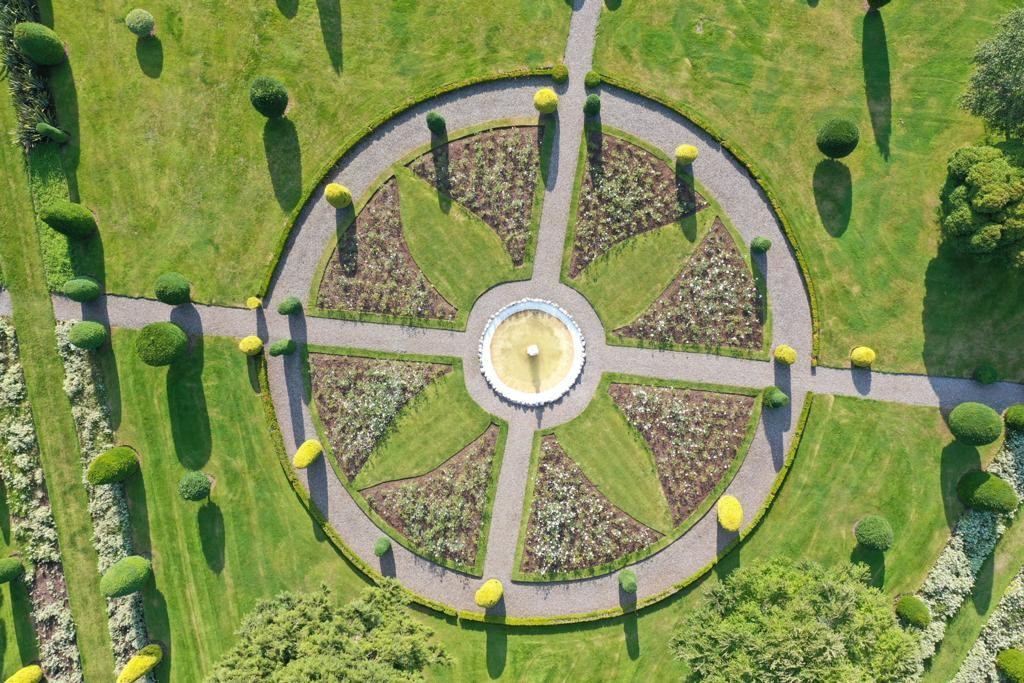 Drummond Castle overhead drone shots September 2021 4