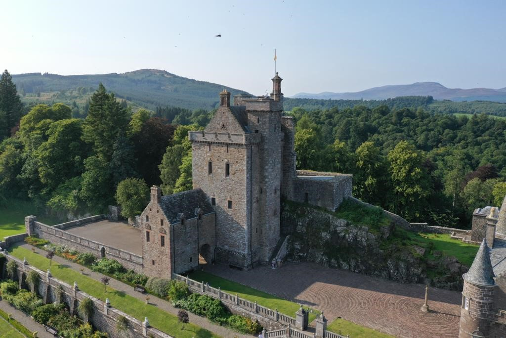Drummond Castle overhead drone shots September 2021 5