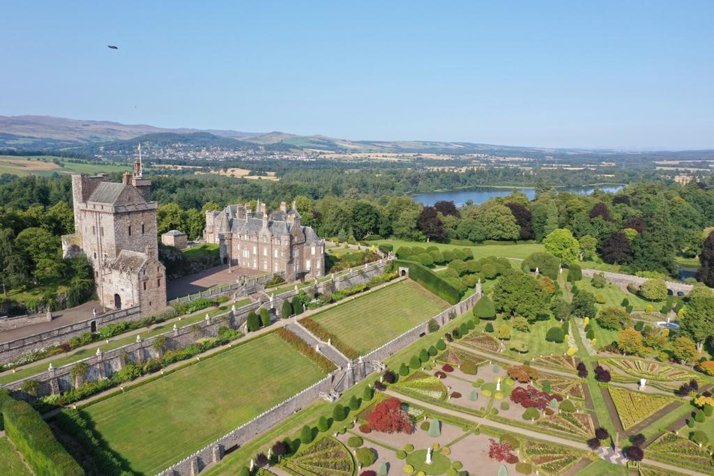 Drummond Castle overhead drone shots September 2021 6
